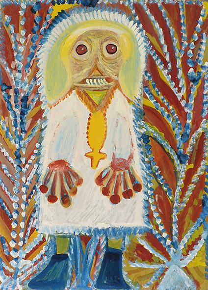 Peinture de l'artiste Anselme Boix-Vives intitulée Religieux Lunaire
