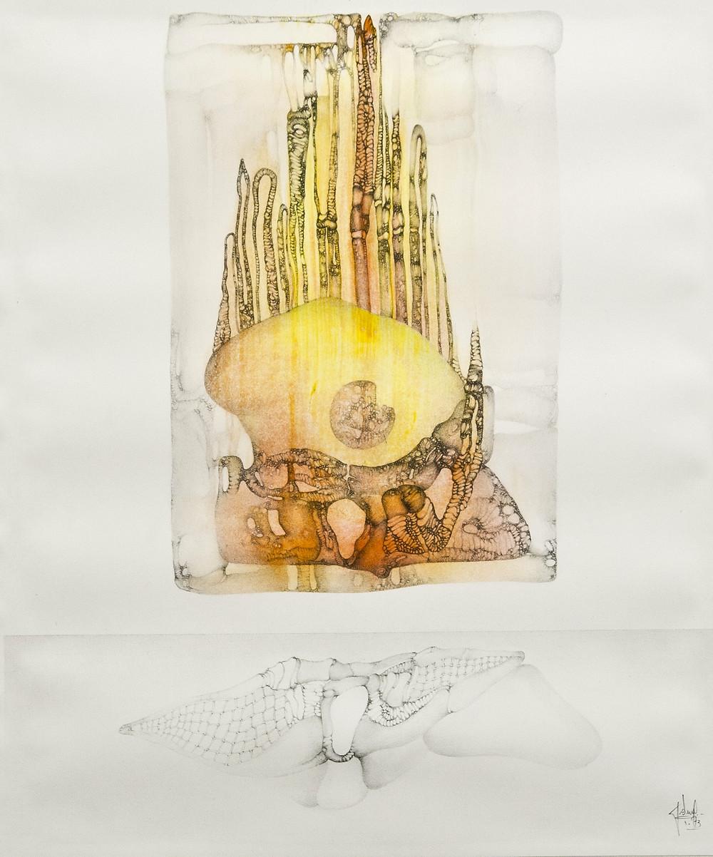 Dessin à la mine de plomb et encre de l'artiste Fred Deux