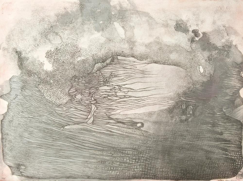 Dessin à la mine de plomb, encre et aquarelle de l'artiste Fred Deux