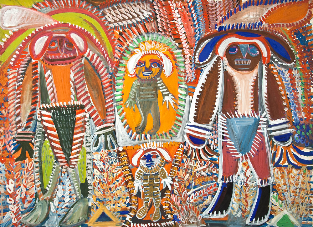 Peinture à la gouache de l'artiste Anselme Boix-Vives intitulée les bossus lunaires