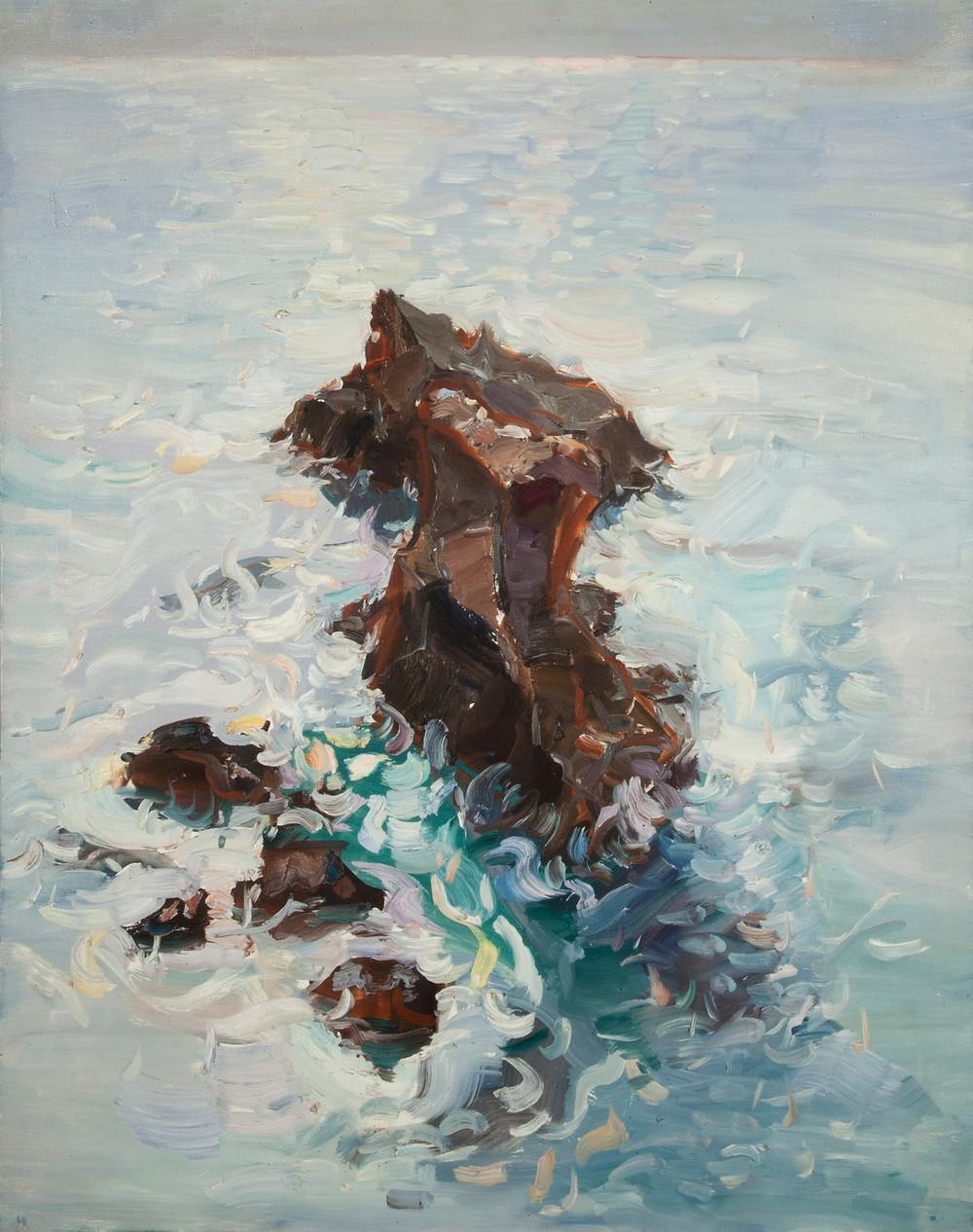 Peinture à l'huile de l'artiste Jean Hélion qui représente les rochers de Port Coton à Belle Ile