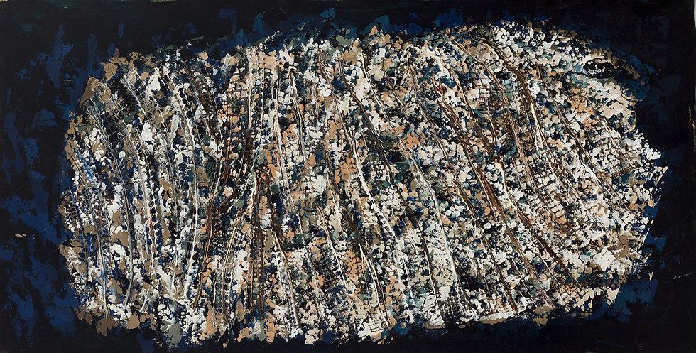 1960, Sans titre, huile sur papier marou