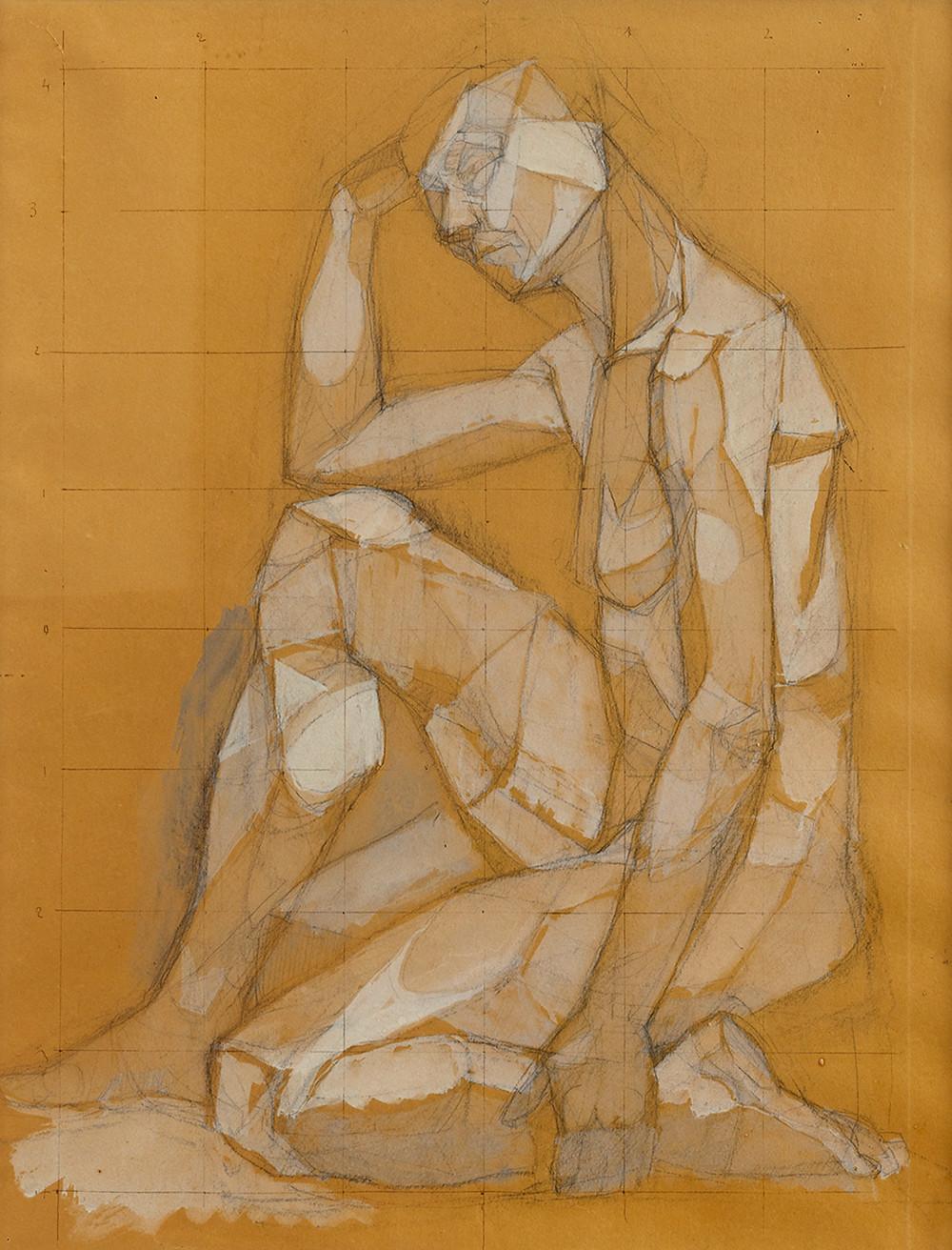 Dessin de l'artiste Bernard Réquichot qui représente un homme penseur