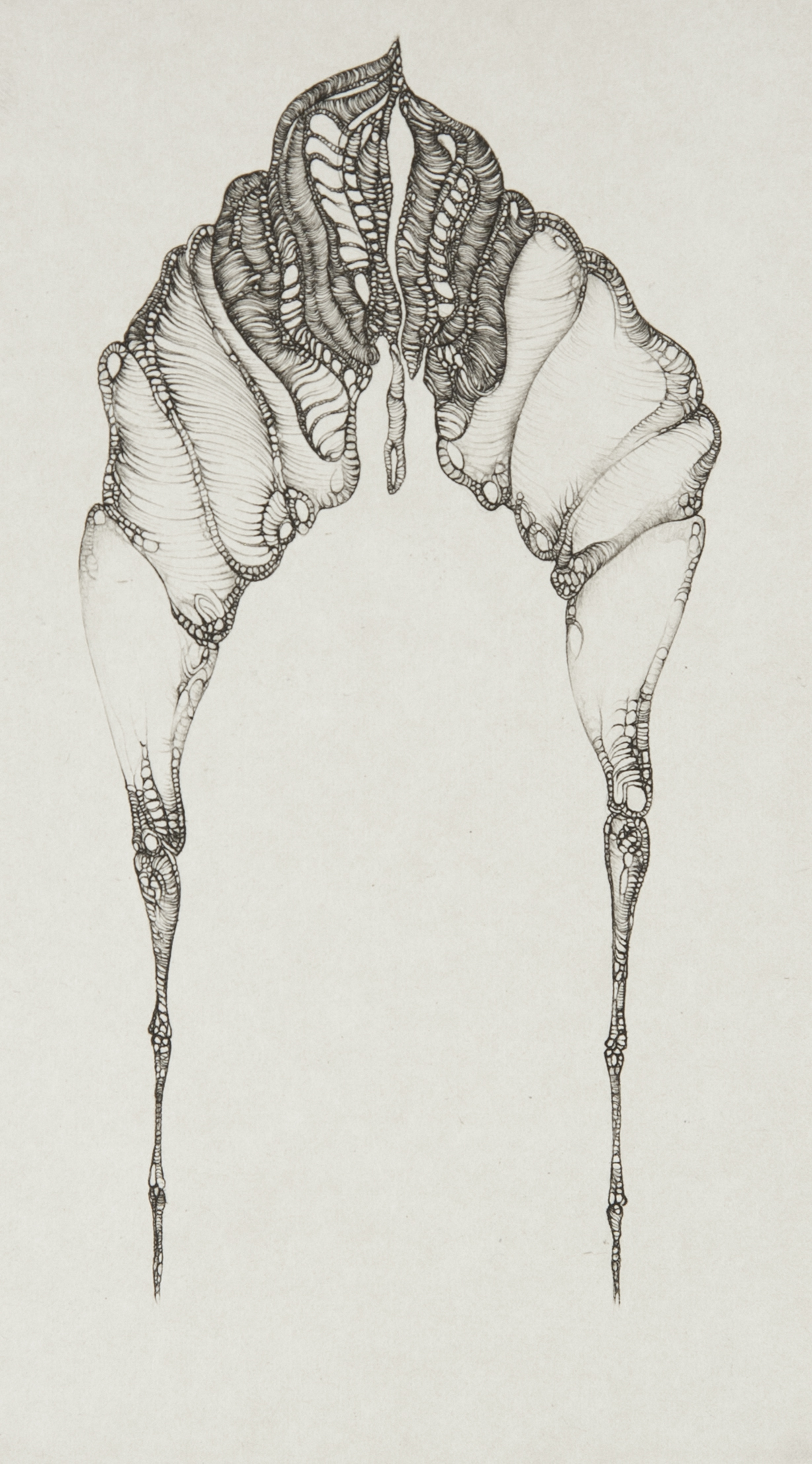 Cécile Reims, Dans l'axe, d'après Fred Deux, 1975 Epreuve sur papier vélin d'Arches, 19 x 10,5 cm