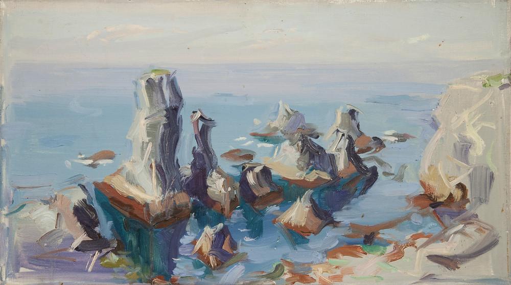 Peinture à l'huile sur toile de l'artiste Jean Hélion qui représente Port Coton à Belle île