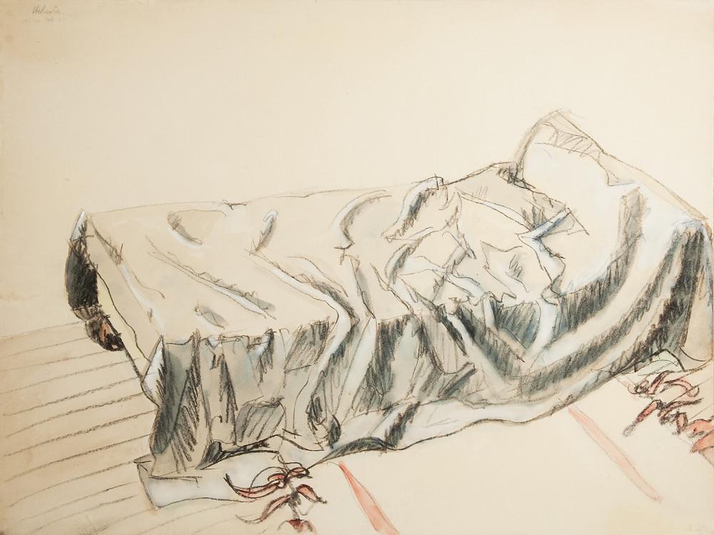 Un dessin à la gouache du peintre Jean Hélion qui représente un lit