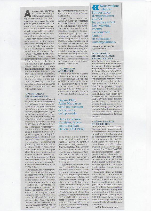 extrait de presse qui parle de Galerie Alain Margaron