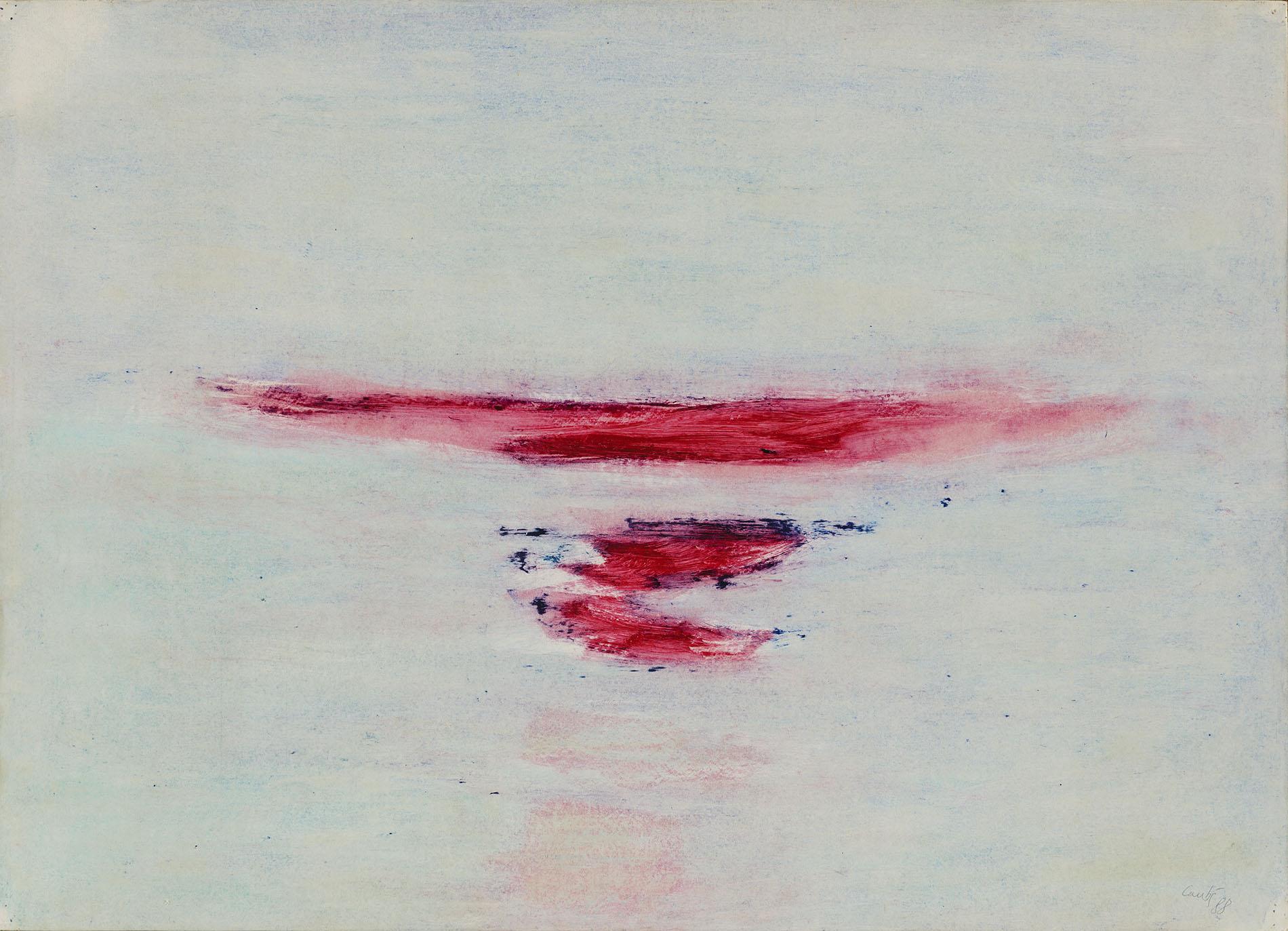 René Laubiès, Sans titre, 1988, huile sur papier marouflé sur toile, 51 x 71 cm