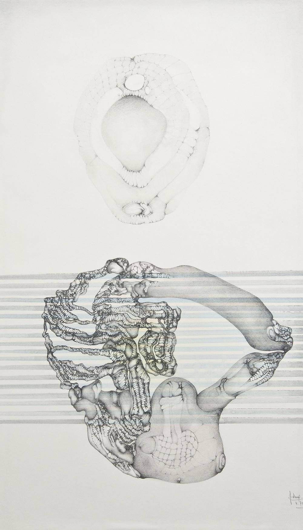 Dessin à la mine de plomb et encre sur papier de l'artiste Fred Deux