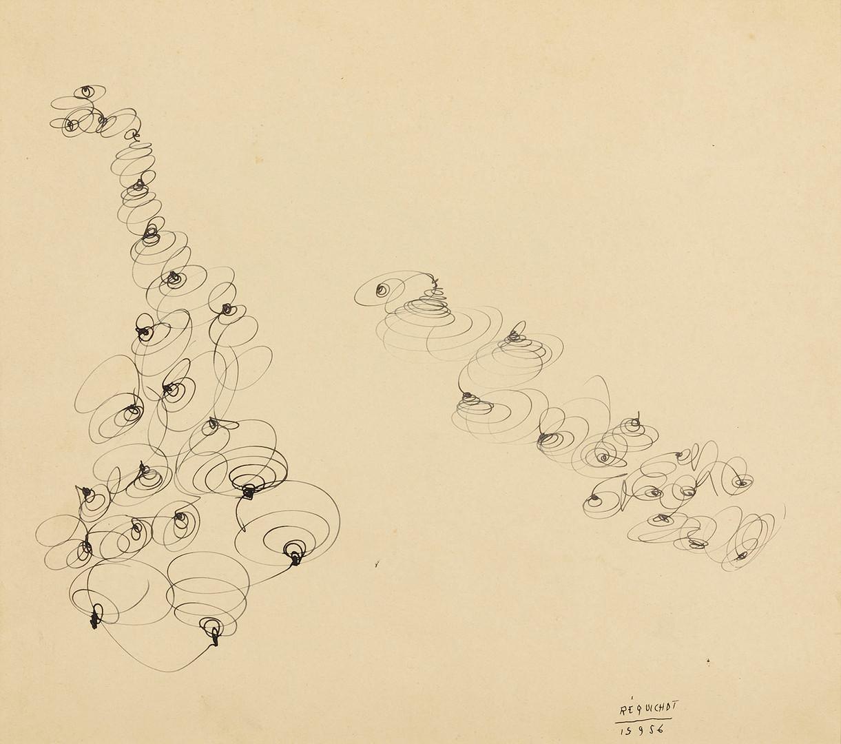 Bernard Réquichot, encre sur papier ocre, 1956