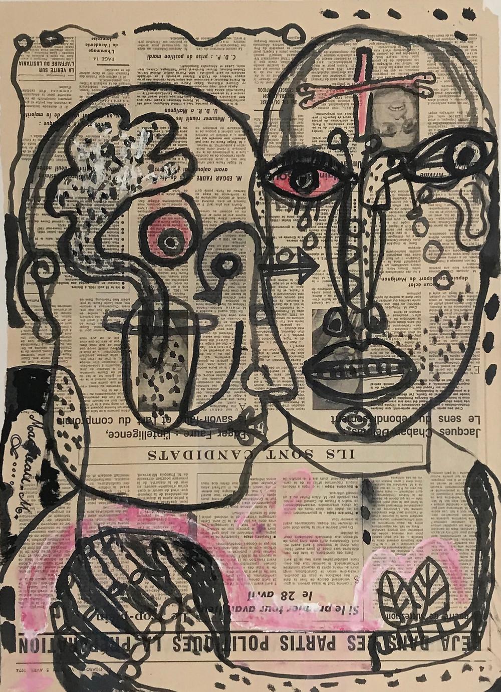 Dessin à l'encre sur papier journal de l'artiste Michel Macréau