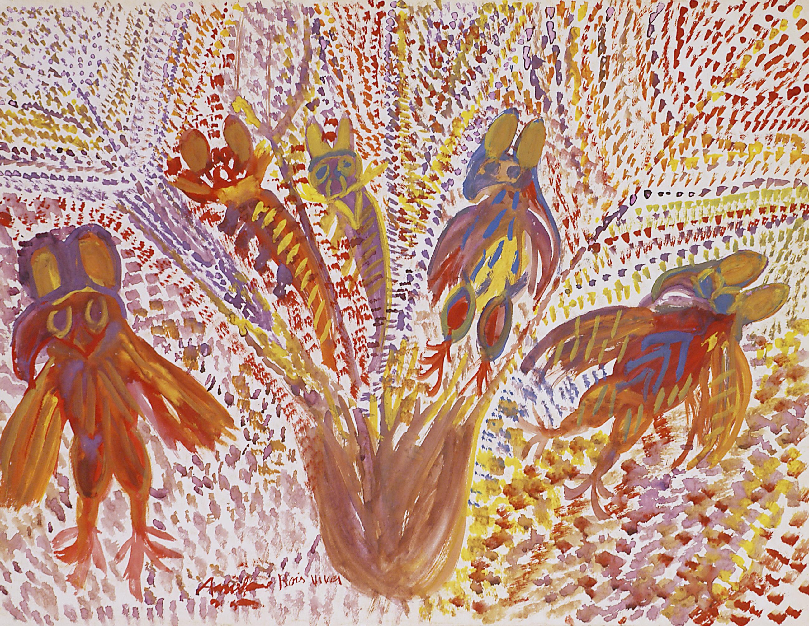Anselme Boix-Vives, Les Mouches, 1962, Gouache sur papier Canson blanc 49,8 x 64,9 cm