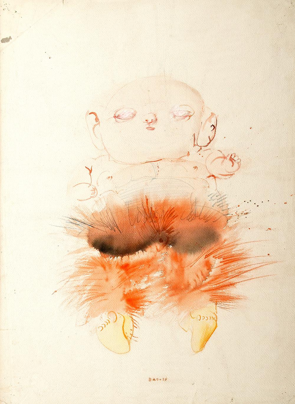 Dessin au lavis de l'artiste Dado qui représente un étrange bébé