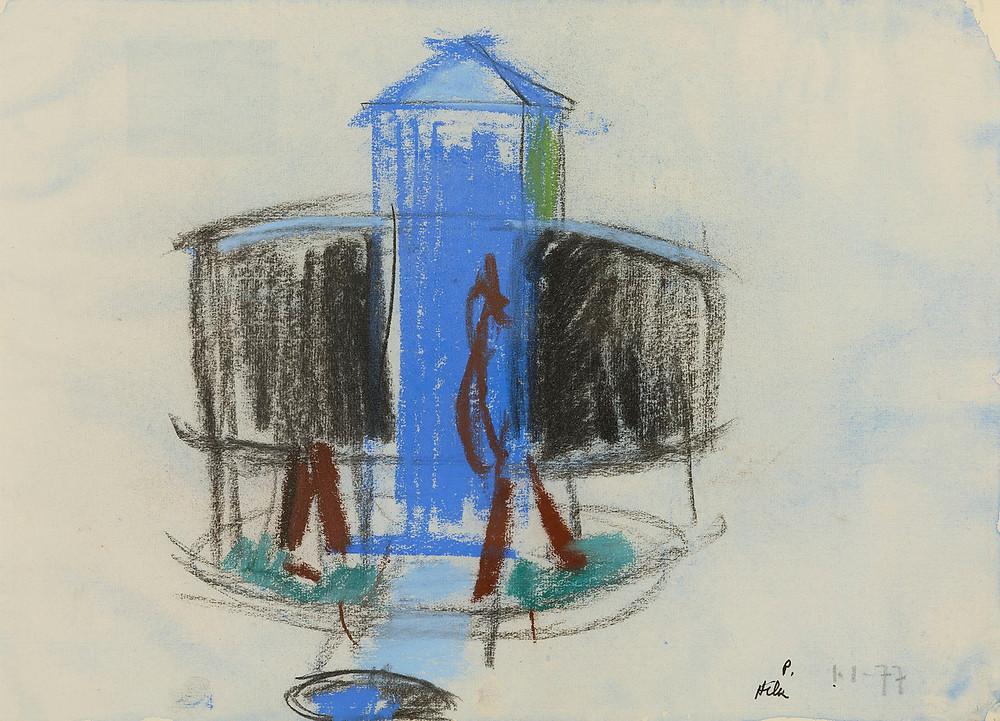 Un dessin de l'artiste Jean Hélion qui représente des vespasiennes à Paris