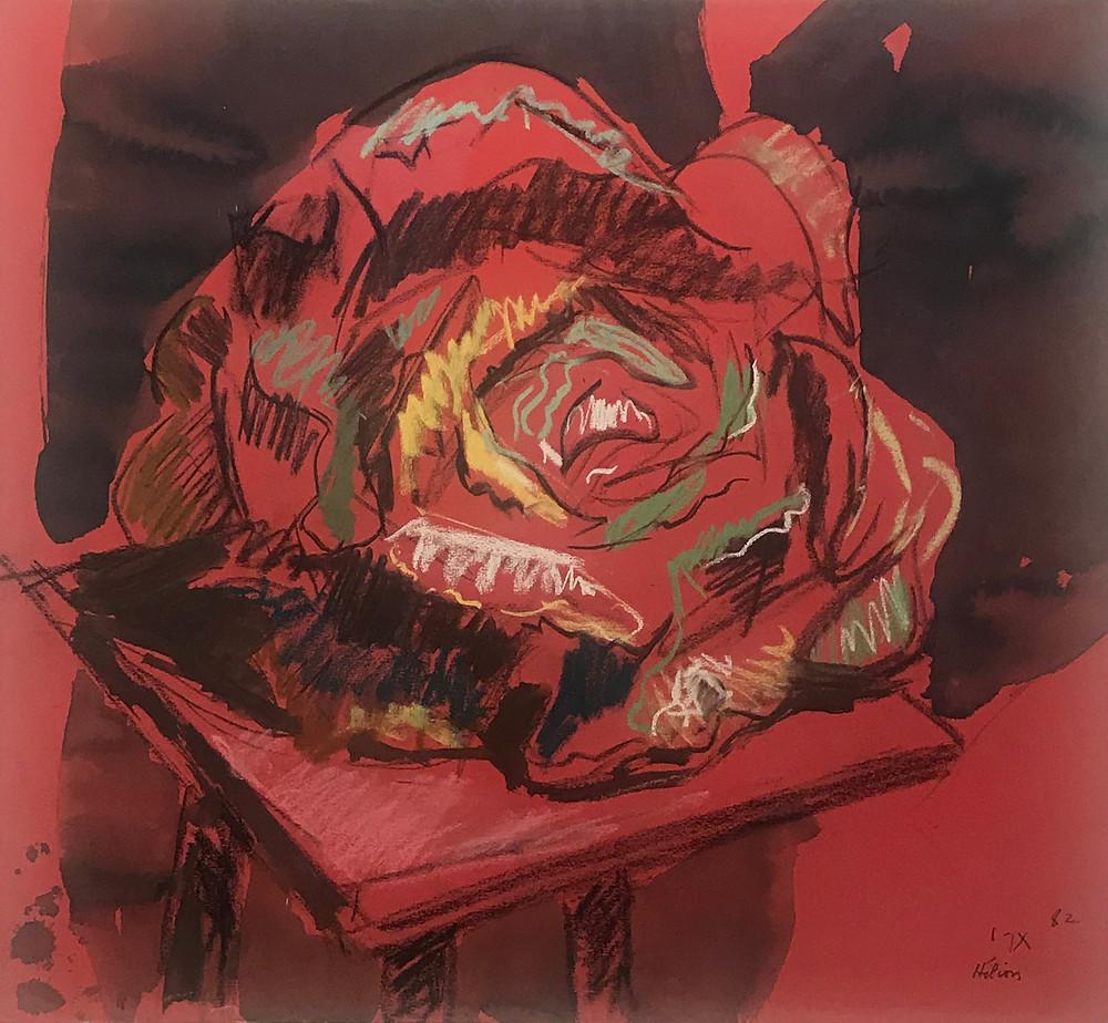 Dessin à la gouache et pastels de l'artiste Jean Hélion qui représente un chou rouge