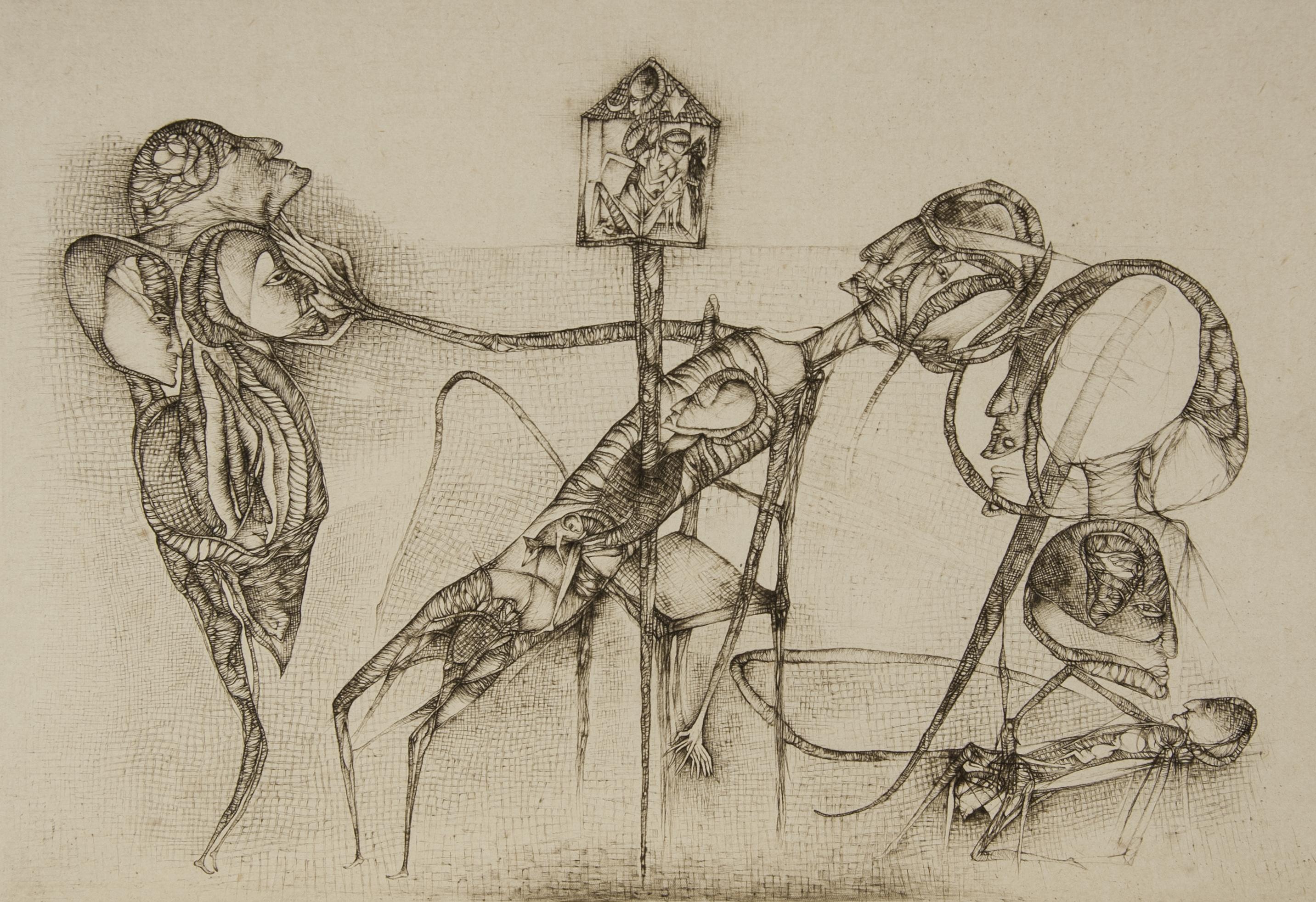 """Cécile Reims, Le Reliquaire lituanien, d'après Fred Deux """"La Réalité imaginaire"""", 1999 Gravure sur p"""