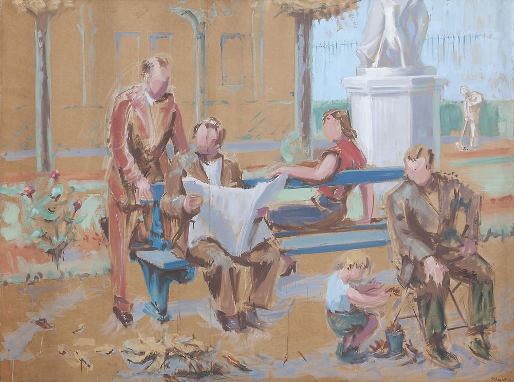 Peinture à la gouache de l'artiste Jean Hélion qui représente le jardin du Luxembourg