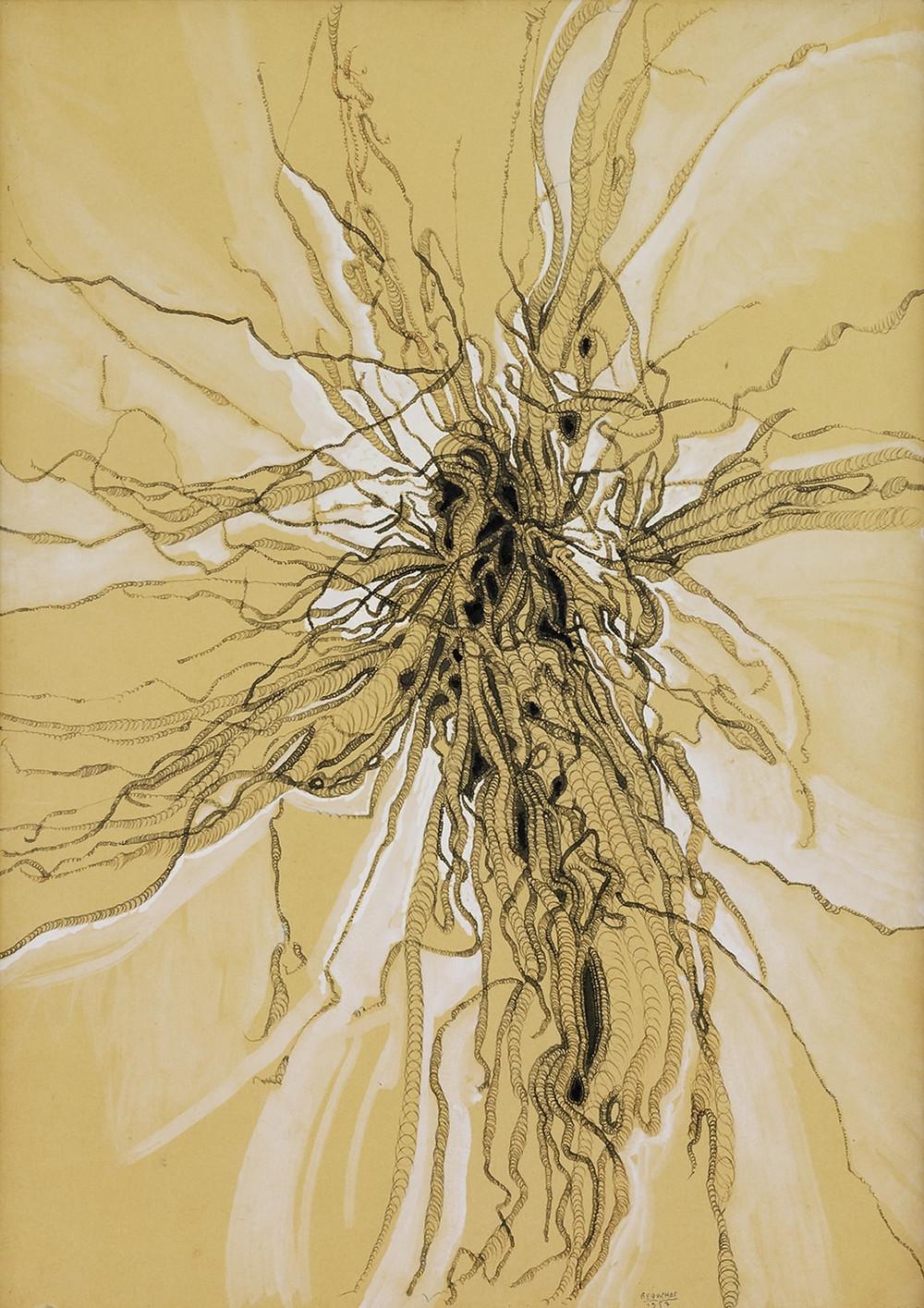 Dessin de spirales à l'encre à la plume de l'artiste Bernard Réquichot