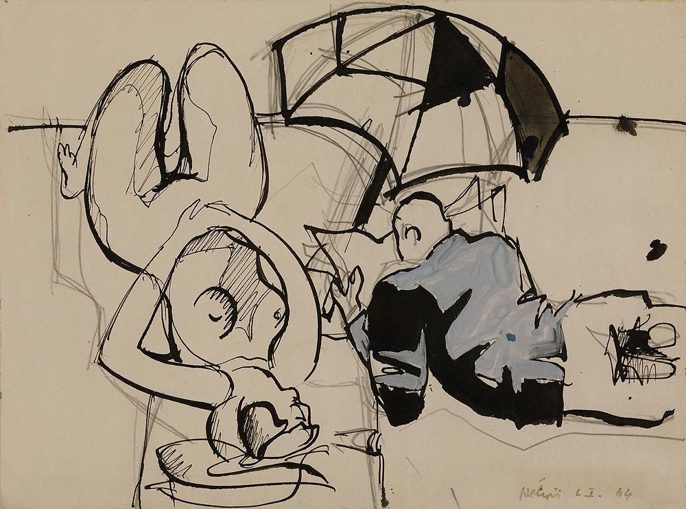 Dessin à l'aquarelle et encre de l'artiste Jean Hélion qui représente un nu renversé