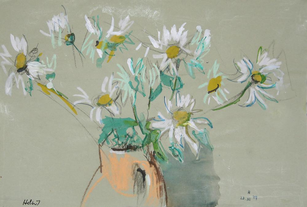 Peinture et pastel de l'artiste Jean Hélion qui représente des fleurs marguerites