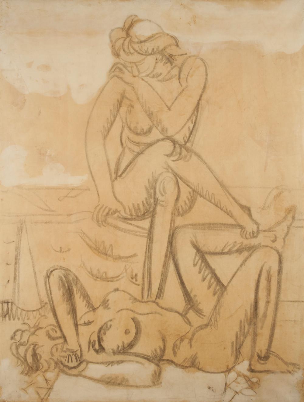 Dessin au fusain du peintre Jean Hélion