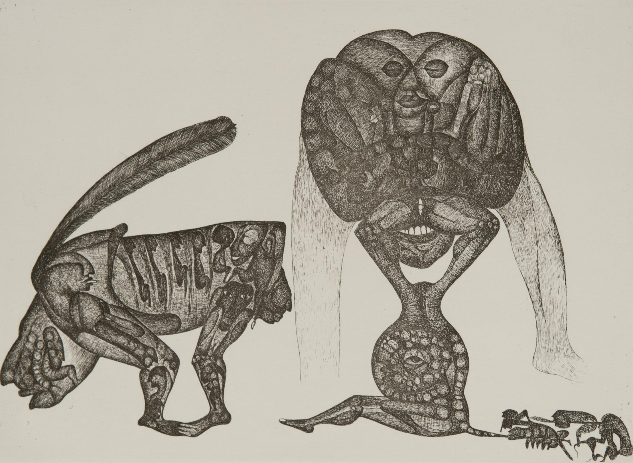 Cécile Reims, Sans titre, d'après un dessin de Fred Deux à l'encre de Chine, 1970, Eau-forte, 16,4 x