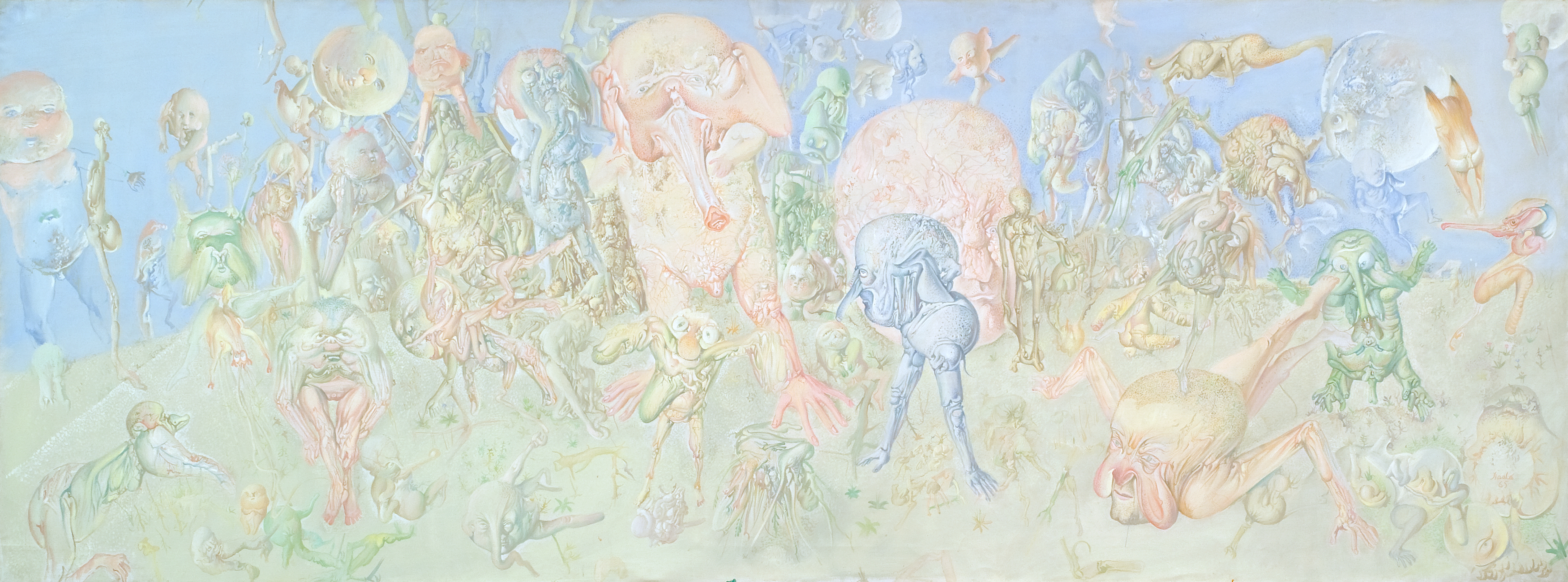 Dado, Les éléphants, 1965, huile sur toile, 97 x 260 cm