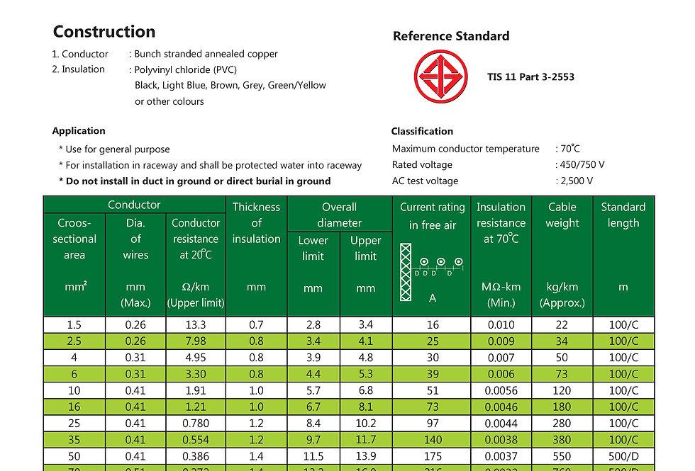 60227 IEC 02 THW 450/750 V 70 C