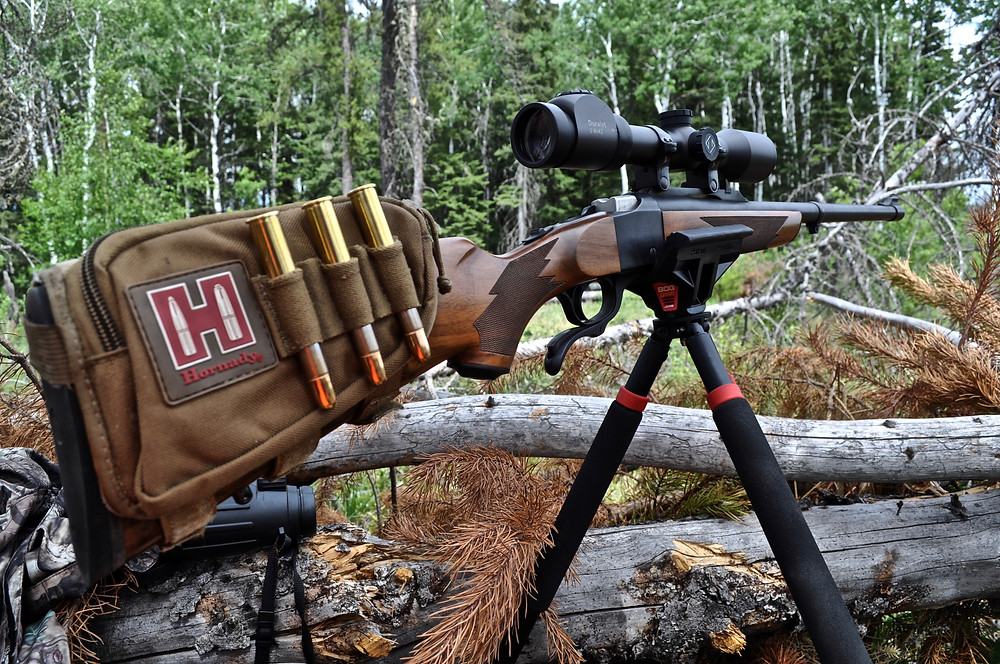 """One of Larry's favorite black bear """"rigs"""" - Ruger Number 1 in .450-400 NE 3"""" using Hornady Dangerous Game ammo."""