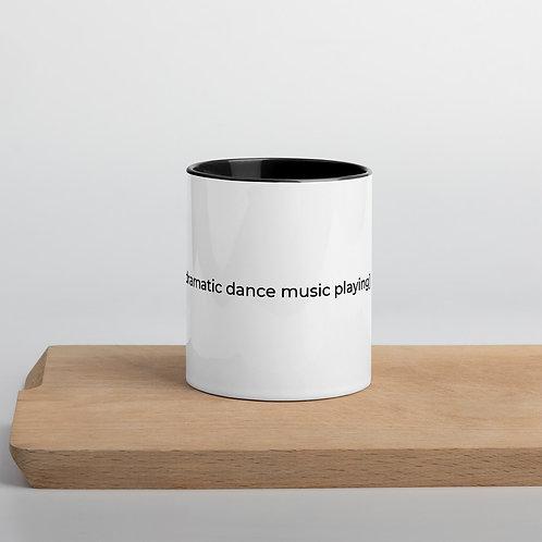 [dramatic dance music playing] Mug