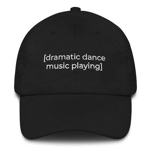 [dramatic dance music playing] Baseball hat
