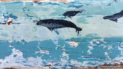 Three Aqua Whales Flying