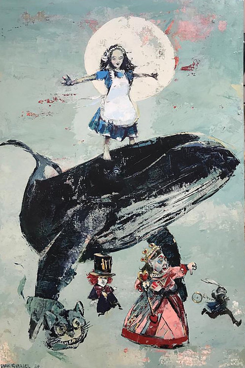 """Archival Canvas Print """"Alice in the land of Whales"""""""
