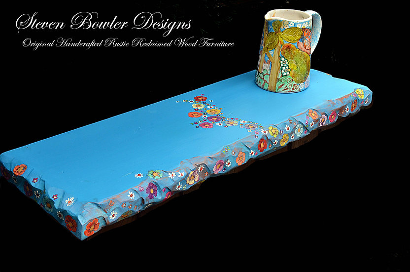 2ft Chunky Turquoise Blue Floating Shelf with Country Cottage Flower Design