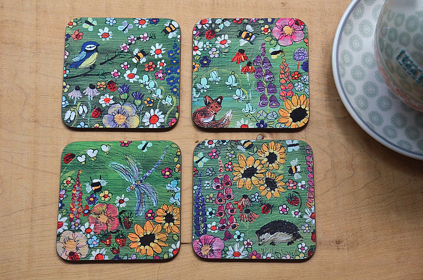 Set of 4 Unique Coffee Table Coasters Printed with our Cottage Garden Design