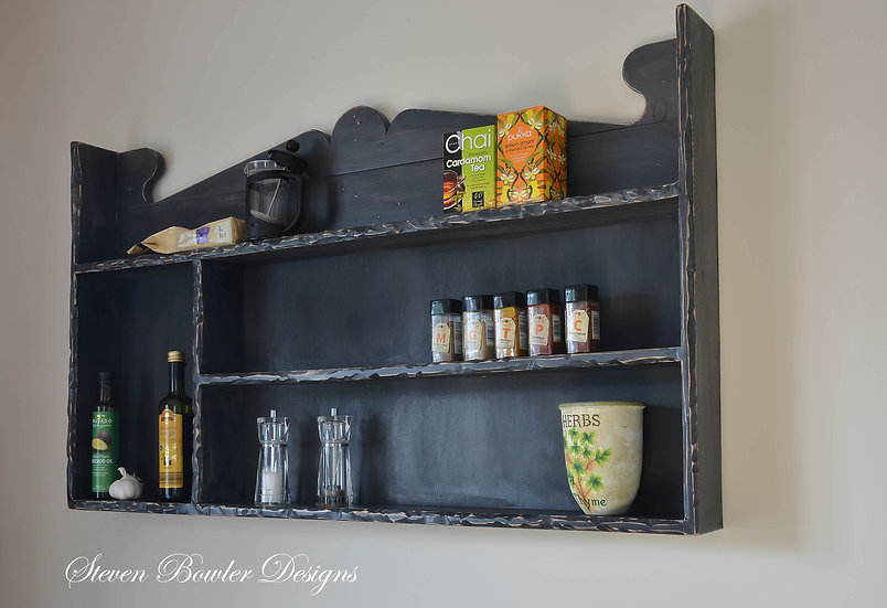 Dark Grey Country Cottage Rustic Farmhouse Bespoke Kitchen Shelving Unit