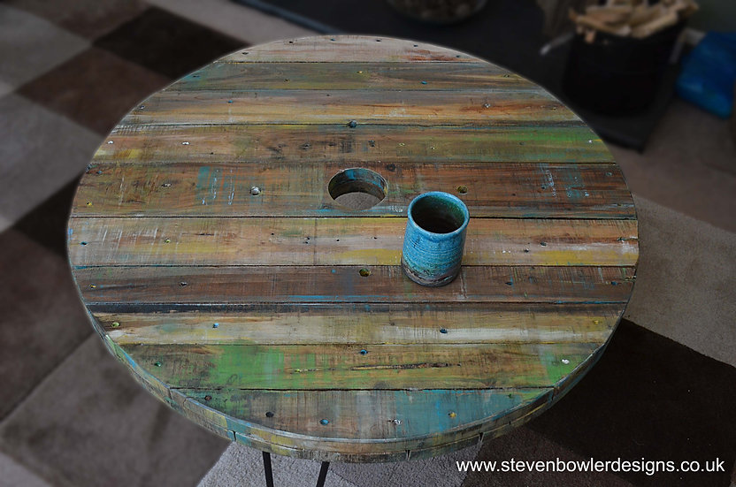 Coastal Cottage Reclaimed Round Spool Top Coffee Table 81 cm Old Boat Wood Style