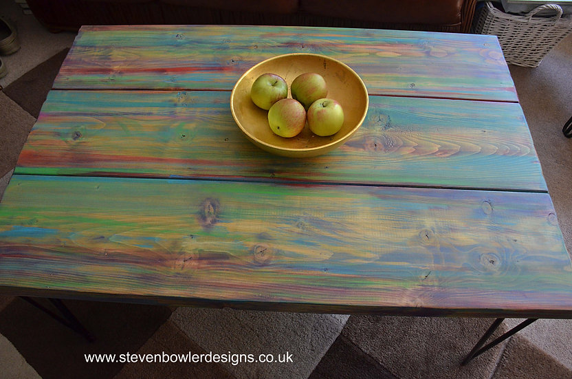 """Bespoke Coastal Cottage Multi Coloured Old Boat Wood Style Coffee Table with 14"""""""