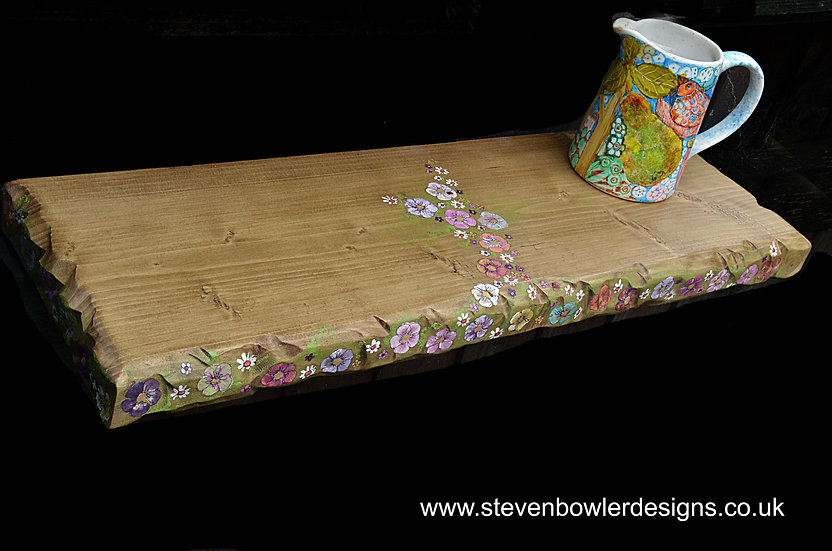 2 ft Bespoke Country Cottage Flower Reclaimed Wood Floating Shelf