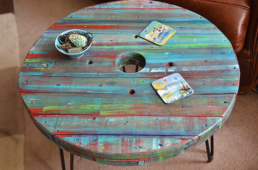 Storm Grey Multi Coloured Old Boat Wood Style Spool Coastal Coffee Table 61 cm D