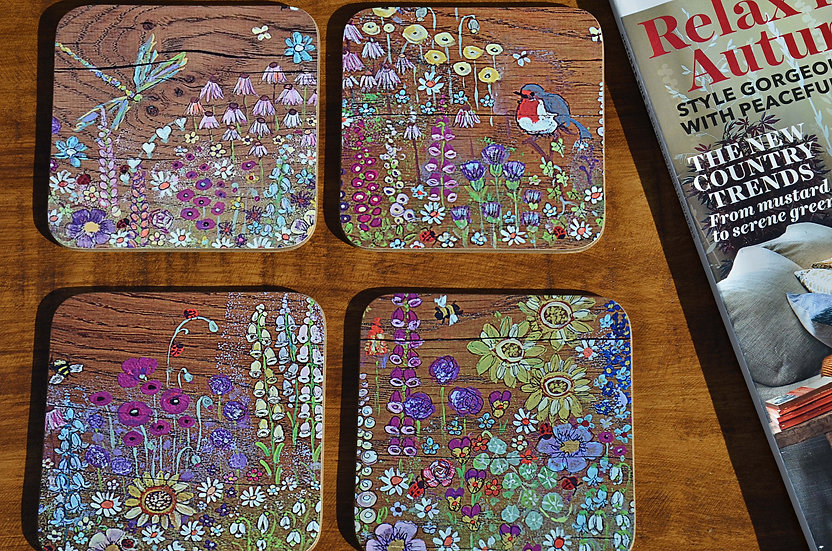Set of 4 Coffee Table Coasters Printed with our Hand Painted Cottage Flowers