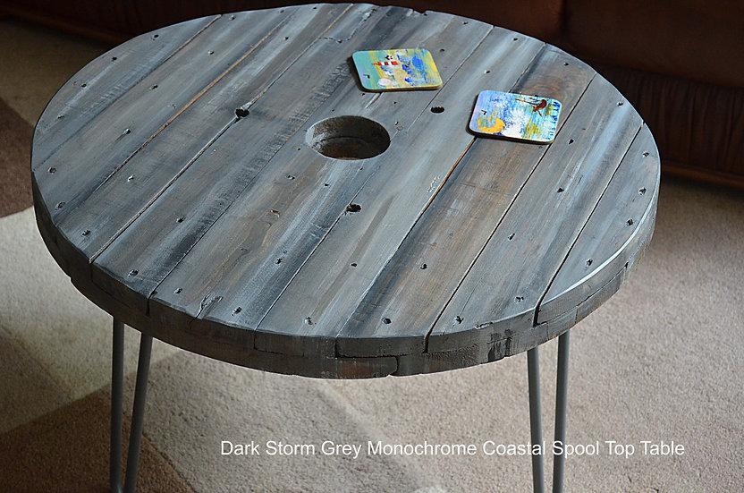 Dark Storm Greys Coastal Cottage Coffee Side Table Old Boatwood Style 61 cm Diam
