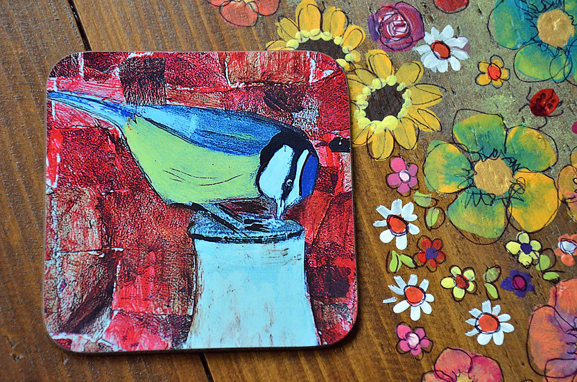 4 Coffee Table Coasters Printed with Country Cottage Garden Blue Tit