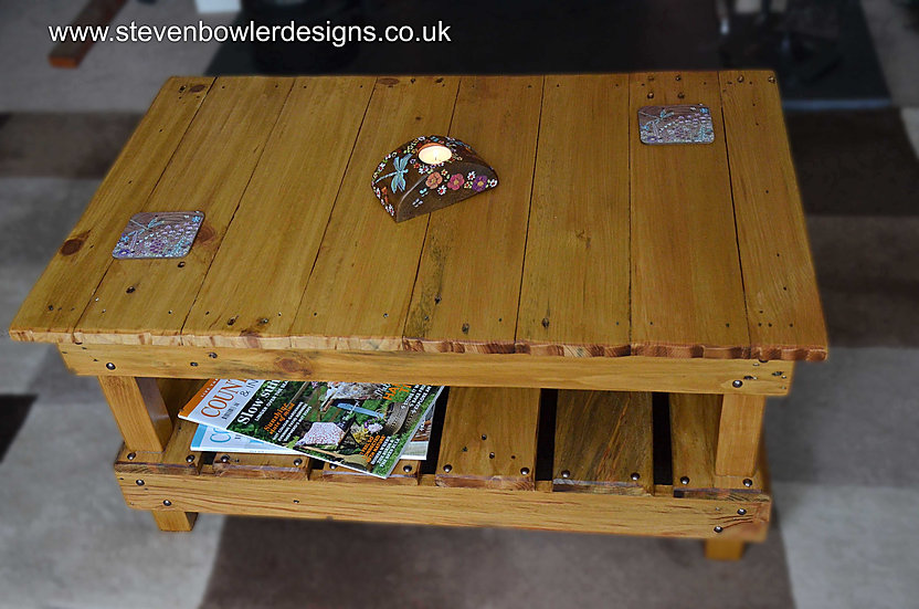 Bespoke Country Cottage Light Oak Stain Coffee Table with Undershelf Storage