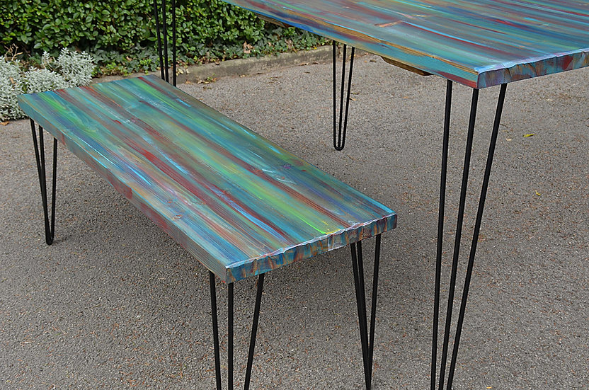 Multi Coloured Old Boatwood Style Stripey Bench with Black Metal Hair Pin Legs