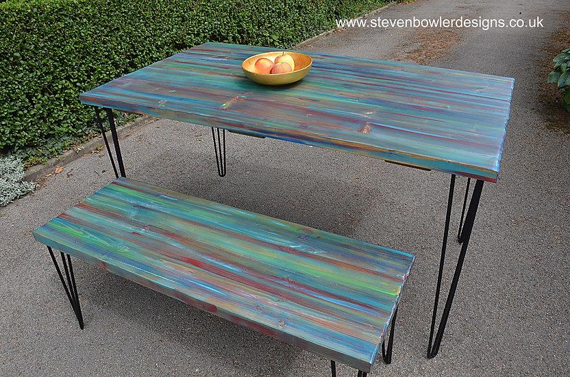 CUSTOM ORDER FOR Barbara for bespoke dining table & matching bench set