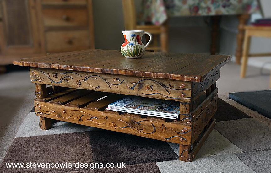 CUSTOM ORDER for Barbara Bespoke Country Cottage Table with Decorative Carving