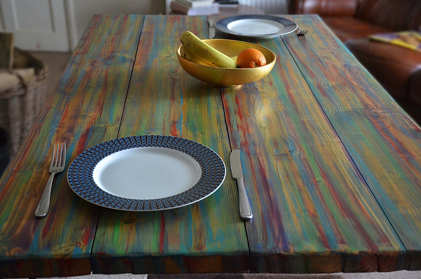 Multi Coloured Old Boat Wood Style Dining Table 140 cm x 80 cm x 71 cm