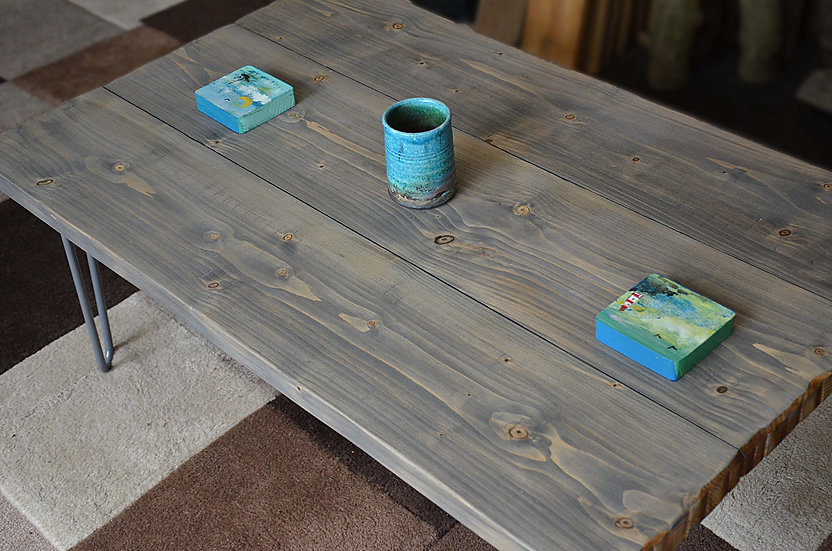 Bespoke Coastal Cottage Storm Grey Slab Top Style Coffee Table