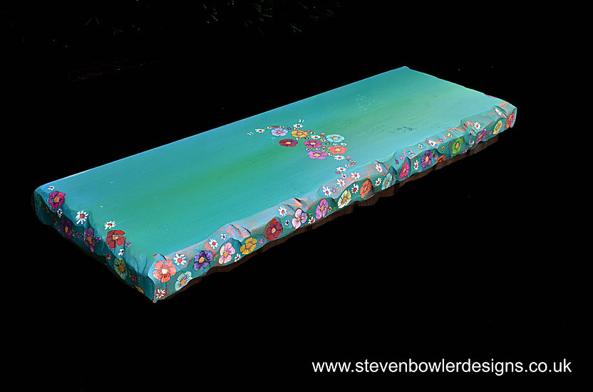 2ft Chunky Jade Green Floating Shelf with Country Cottage Flower Design